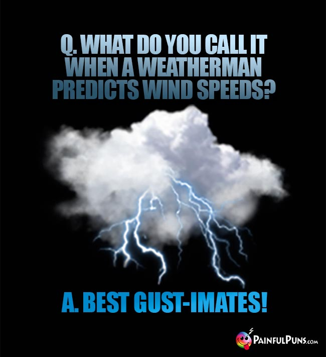 Q. What do you call it when a weatherman predicts wind speeds? A. Best gust-imates!