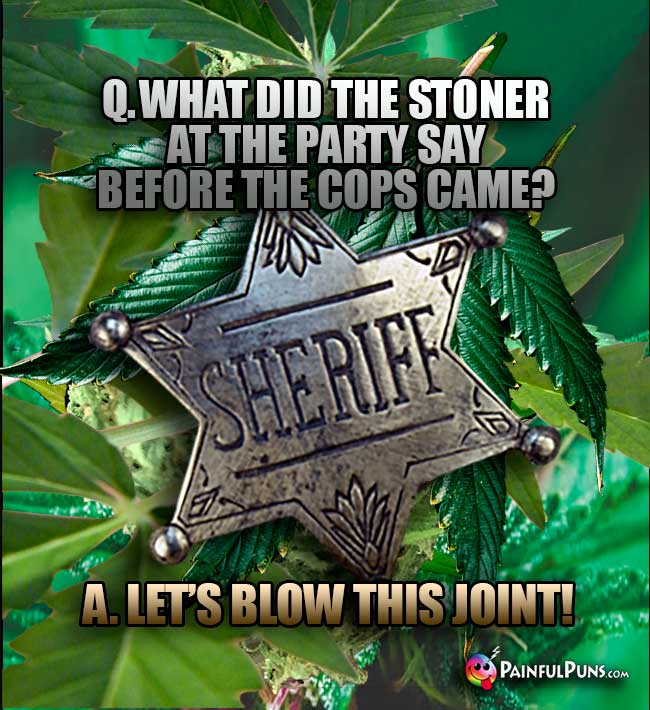 Q. What did the stoner at the party say before the copy came? A. Let's blow this joint!
