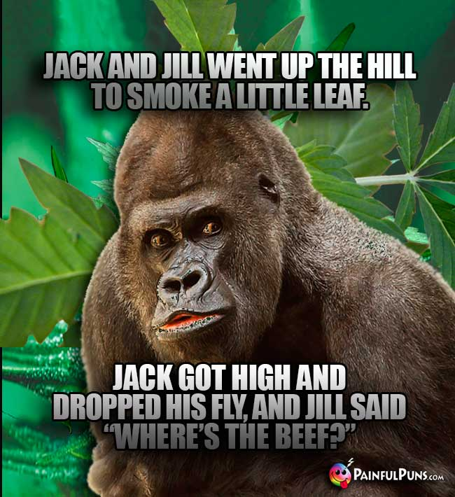 "Jack and Jill went up the hill to smoke a little leaf. Jack got high and dropped his fl, and Jill said ""Where's the Beer?"""