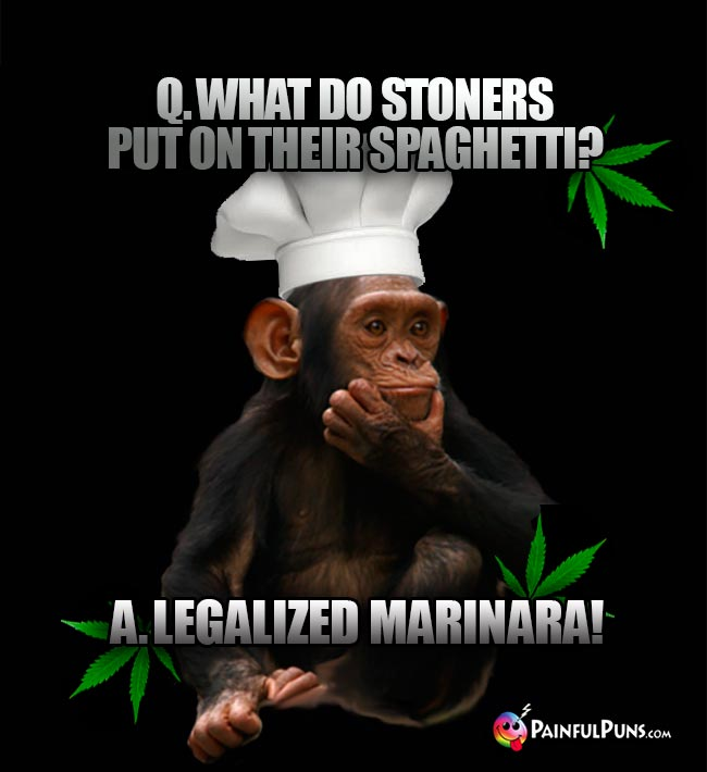 Chimp Chef Asks: What do stoners put on their spaghetti? A. Legalized Marinara!