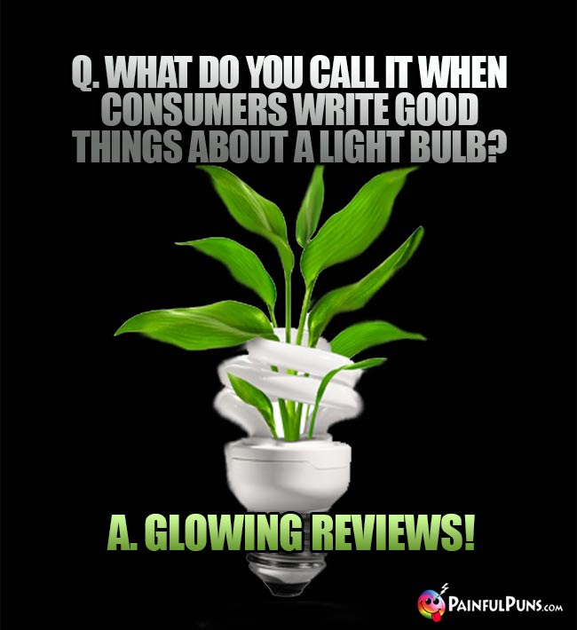 Q. What do you call it when consumers write good things about a light bulb? A. Glowing reviews!